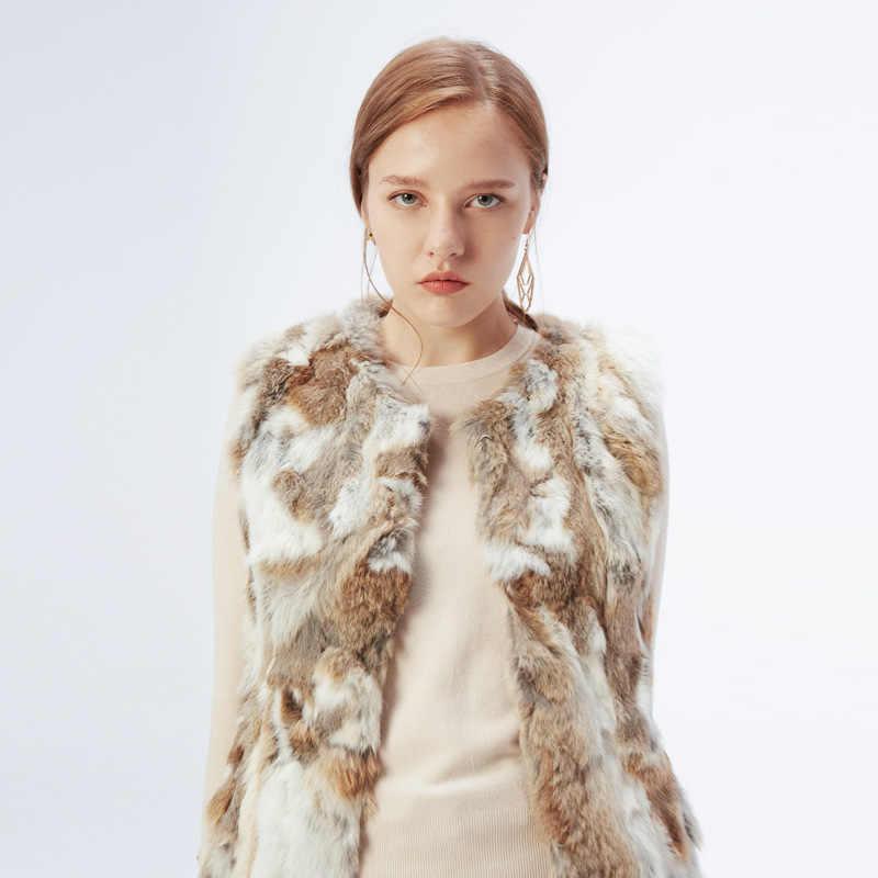ETHEL ANDERSON kadınlar gerçek tavşan kürk yelek hakiki kürk mont bayanlar kürk yelek jile uzun tarzı ceket dış giyim jile