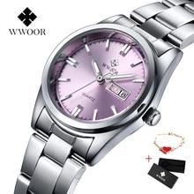купить WWOOR Watches Women Luxury Brand Full Stainless Steel Business Women Wrist  \Watch Date Week Luminous Analog Quartz Watch Clock дешево