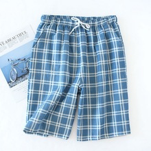 Pajamas Pants Short Trousers Sleepwear Bottoms Plaid Men's Casual Summer Knitted Hombre