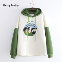 Frohe Ziemlich frauen Cartoon Kuh Patchwork Hoodies Sweatshirts 2019 Winter Warme Lange Hülse Harajuku Mit Kapuze Trainingsanzug Pullover(China)