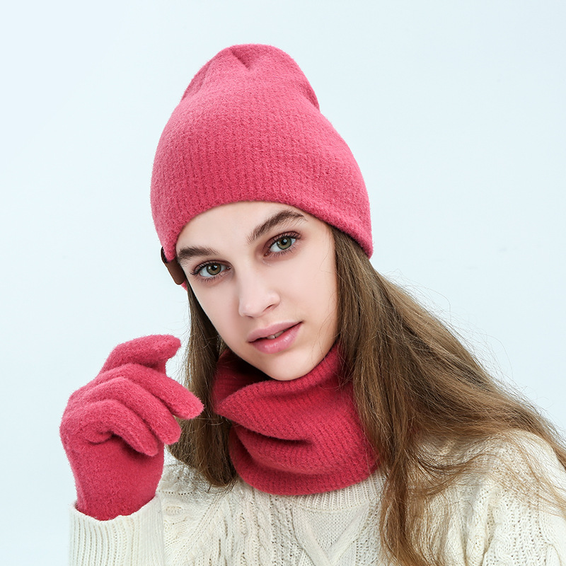 Red Color Winter Hat And Scarf Glove Setfor Women Hat Wool Hat Skullies Beanie Female Hat And Scarves Gloves Set For Men Hat