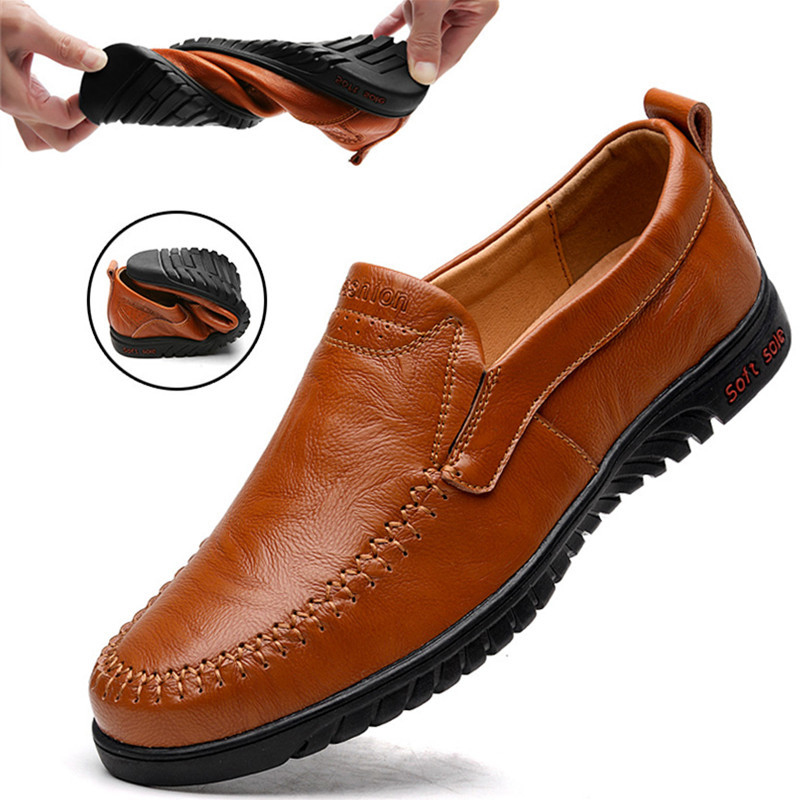 Men's Casual Shoes Genuine Leather Soft Moccasin Shoes Man Brown Loafers Big Size 47 Outdoor Slip-on Driving Shoes Comfortable