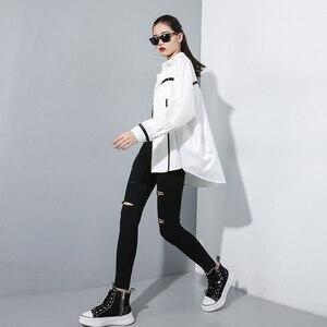 Image 2 - [EAM] גבוהה מותן שחור Slim מכנסיים חדש Loose Fit מכנסי עיפרון נשים אופנה גאות כל התאמה אביב סתיו 2020 1A698