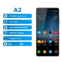 Elefono A2 5.47 Pollici 18:9 Full Screen Del Telefono Cellulare Android 8.1 MT6580 Quad Core Lato Impronte Digitali Globale Smartphone