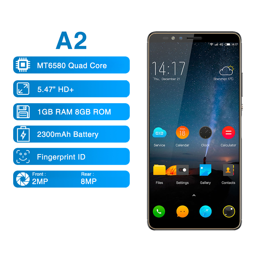 Elephone A2 5,47 pulgadas 18:9 Pantalla Completa teléfono móvil Android 8,1 MT6580 Quad Core huellas dactilares laterales Global Smartphone Original UNIWA V9 + 3G SmartPhone MT6580M Quad Core Android 5,1 pantalla táctil Batería grande teléfono móvil 5,0