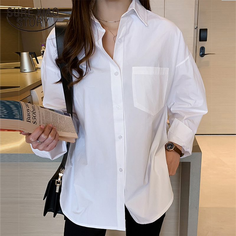 4XL Plus Size Womens Tops And Blouses Solid White Shirt Blusas Mujer De Moda 2019 Long Sleevewomen Shirts Clothing 7312 50