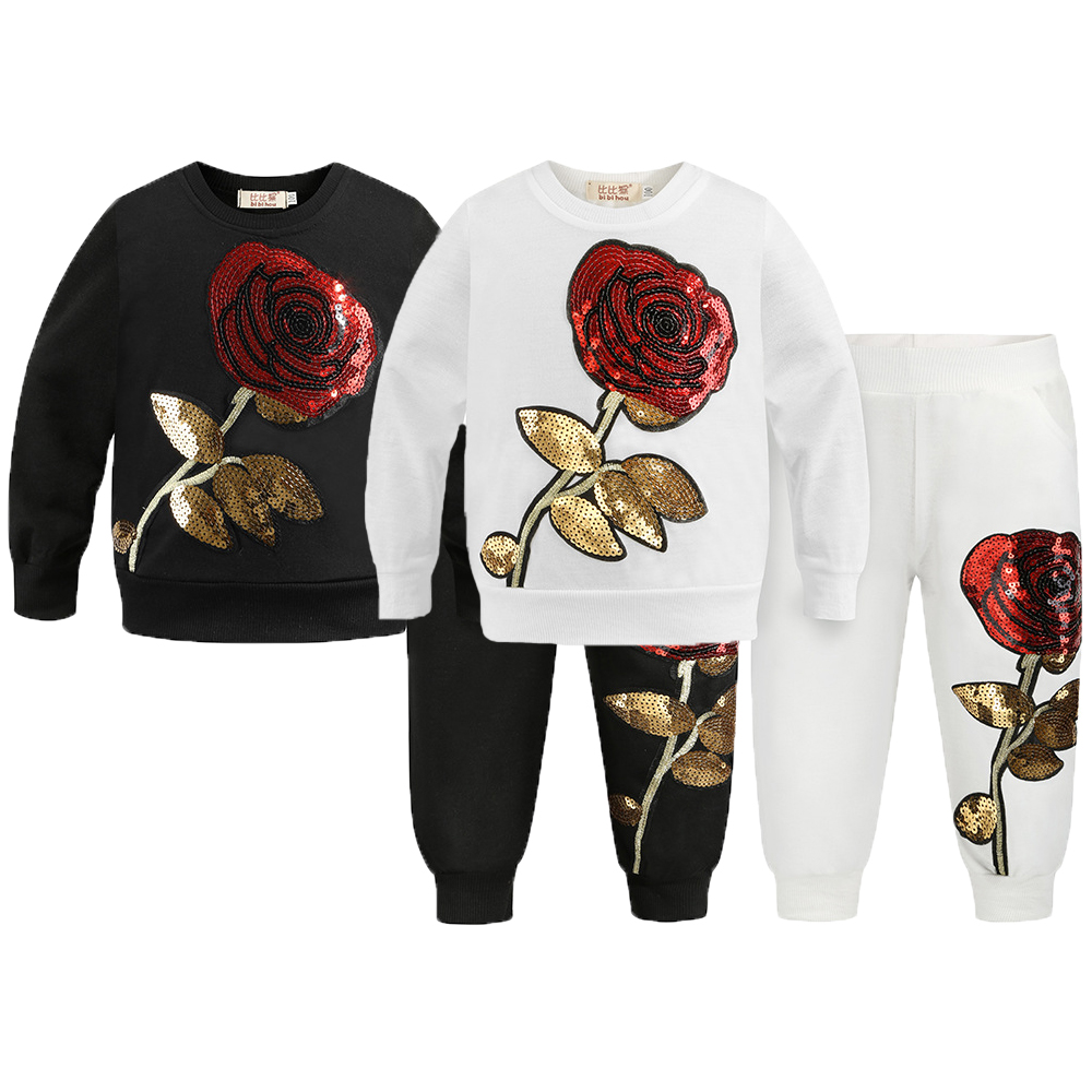 Sequin Rose Girls Clothing Set Autumn Full Sleeve Clothes Suit For Girls Cotton Shirt + Pants 2Pcs Birthday Present Kids Clothes