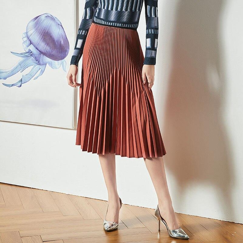 Fold Womens Half-length Skirt 2019 Spring and Autumn New Style Original Minority Design Long style High waist Pleated skirt