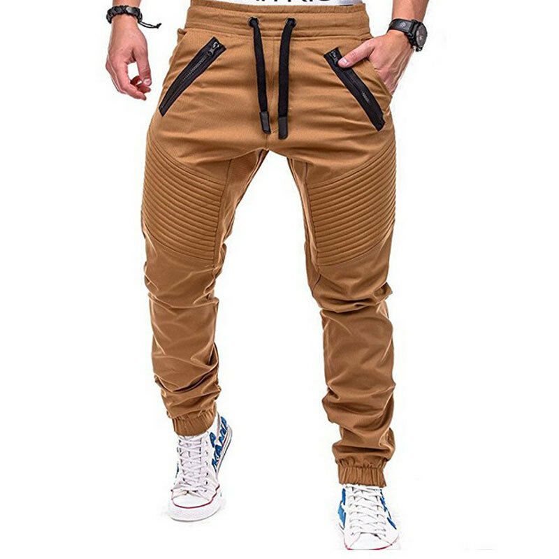 Men Casual Pants Gym Sports Trousers Tracksuit Bottoms Skinny Slim Fit Trousers Pencil Joggers Sweat Track Pants