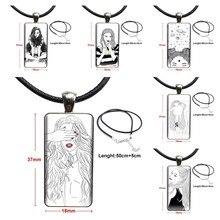 Para as mulheres preto e branco linhas menina à venda legal vidro cabochão pingente colar retângulo moda colar prix