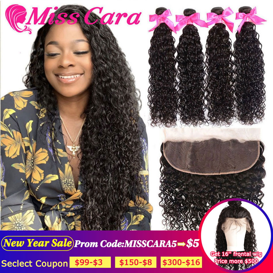 Peruvian Water Wave Bundles With Frontal Miss Cara Remy Human Hair 3/4 Bundles With Closure Lace Frontal Closure With Bundles