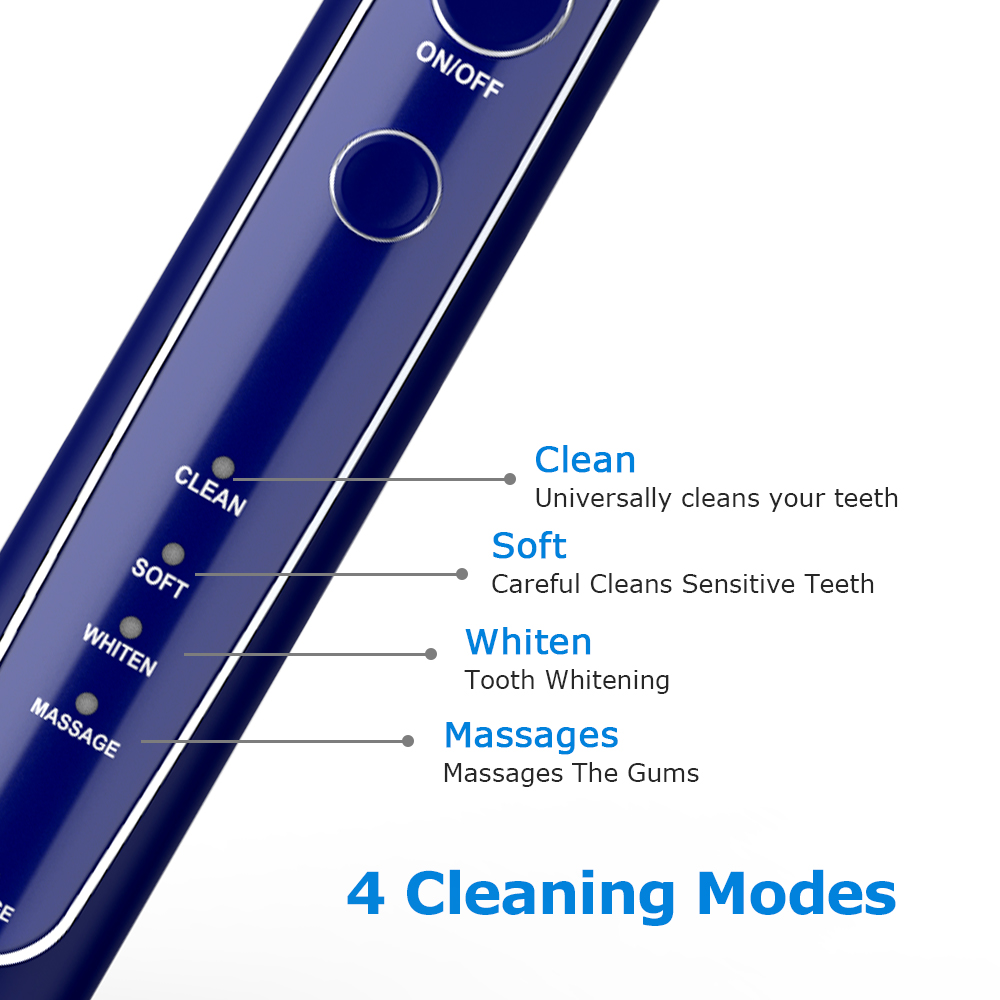 Electric Toothbrush Sonic Tooth Brush USB Inductive Charging IPX7 Waterproof toothbrush Blue With 8 Brush Heads & Travel Case