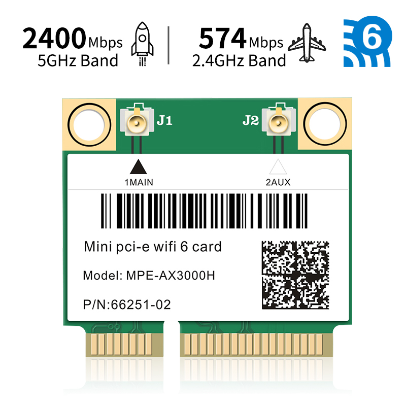 2974Mbps Wifi 6 Mini PCI-E Card 2 4G 5Ghz Bluetooth 5 0 Wireless Network Wlan Wifi Card 802 11ax ac MU-MIMO Windows 10  Laptop