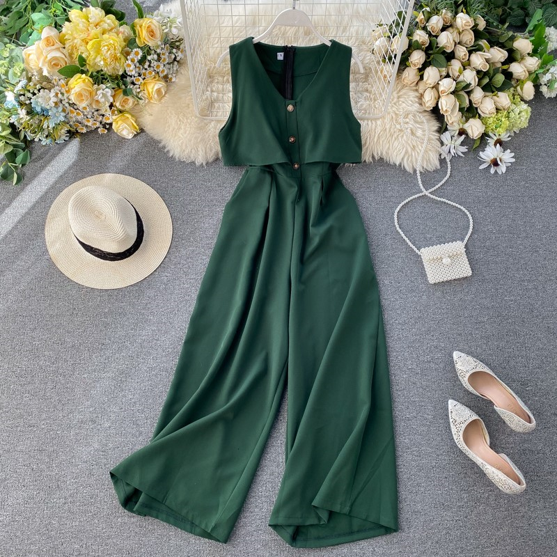 Women 2020 Summer Elegant V-Neck Jumpsuits Single Breasted Sleeveless Ladies Slim Rompers Wide-leg Fashion Retro Jumpsuits N382