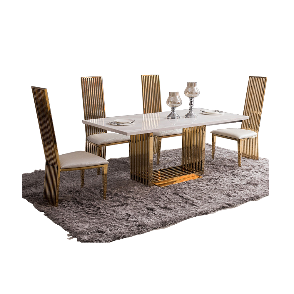 US $1793.6 5% OFF|dining table set comedor sillas de comedor стол обеденный  mesa comedor muebles de madera mesa gold stainless steel + 4 chairs on ...