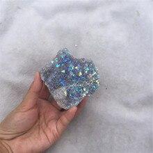50 грамм Природный кварц кристалл кластер Гальваническое титановое покрытие кварцевый кластер камень заживление