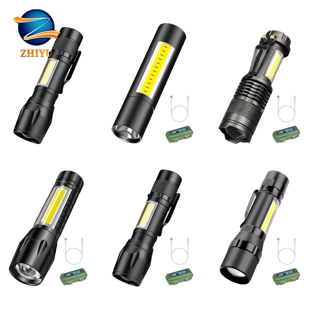 ZHIYU Portable LED Flashlight COB+XPE Tactical Torch Zoomable Focus Flashlights 3 Modes Waterproof Work Light Emergency Lanterna LED Flashlights    - AliExpress