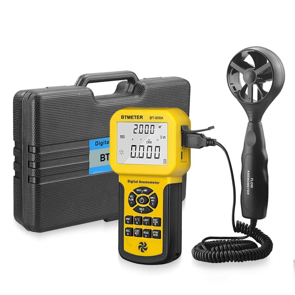 BT-856A Pro CFM Anemometer Measures Wind Speed Wind Flow, Wind Temp For HVAC Air Flow Velocity Meter With Battery