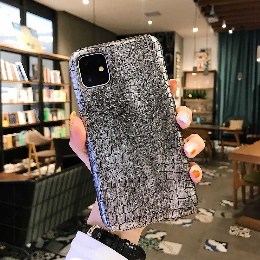 Fashion Cool Crocodile Snake Skin Cover Case With Hybrid Rubber Cape For iPhone Xs Max 18