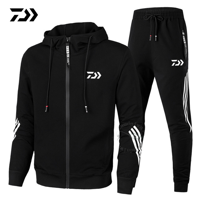 Daiwa Spring Autumn 2019  Fishing Suit Cotton Outdoor Camping Hiking Sport Set  Striped  Clothes Fishing Jacket Pants Suit