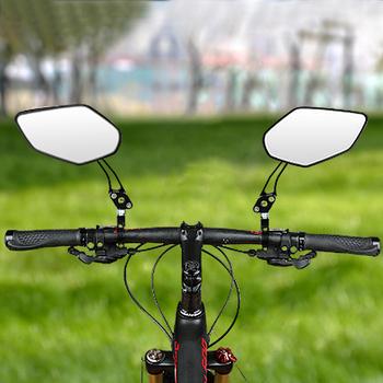 Lusterka rowerowe lusterka wsteczne na kierownicę rowerowe lusterko wsteczne MTB Bike silikonowy uchwyt lusterko wsteczne regulowane lusterko lewego prawego tanie i dobre opinie CN (pochodzenie) Bike Mirrors Bicycle Rearview Handlebar Mirrors Cycling Rear View Adjustable Left Right Mirror bicycle accessories