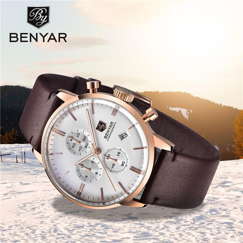 Quartz men's watches BENYAR top brand luxury business clock men  fashion wristwatch sport Leather chronograph Relogio Masculino|Quartz Watches| |  - title=