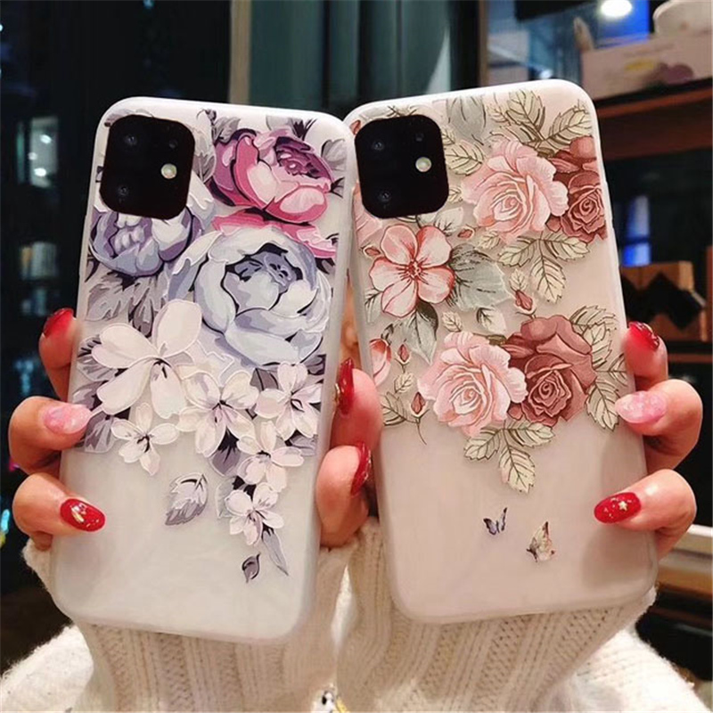 Lovebay For IPhone 11 Pro Max X XR XS 6 6s 7 8 Plus Matte Tricky 3D Art Rose Flower Painting Relief Soft TPU Back Cover Fundas