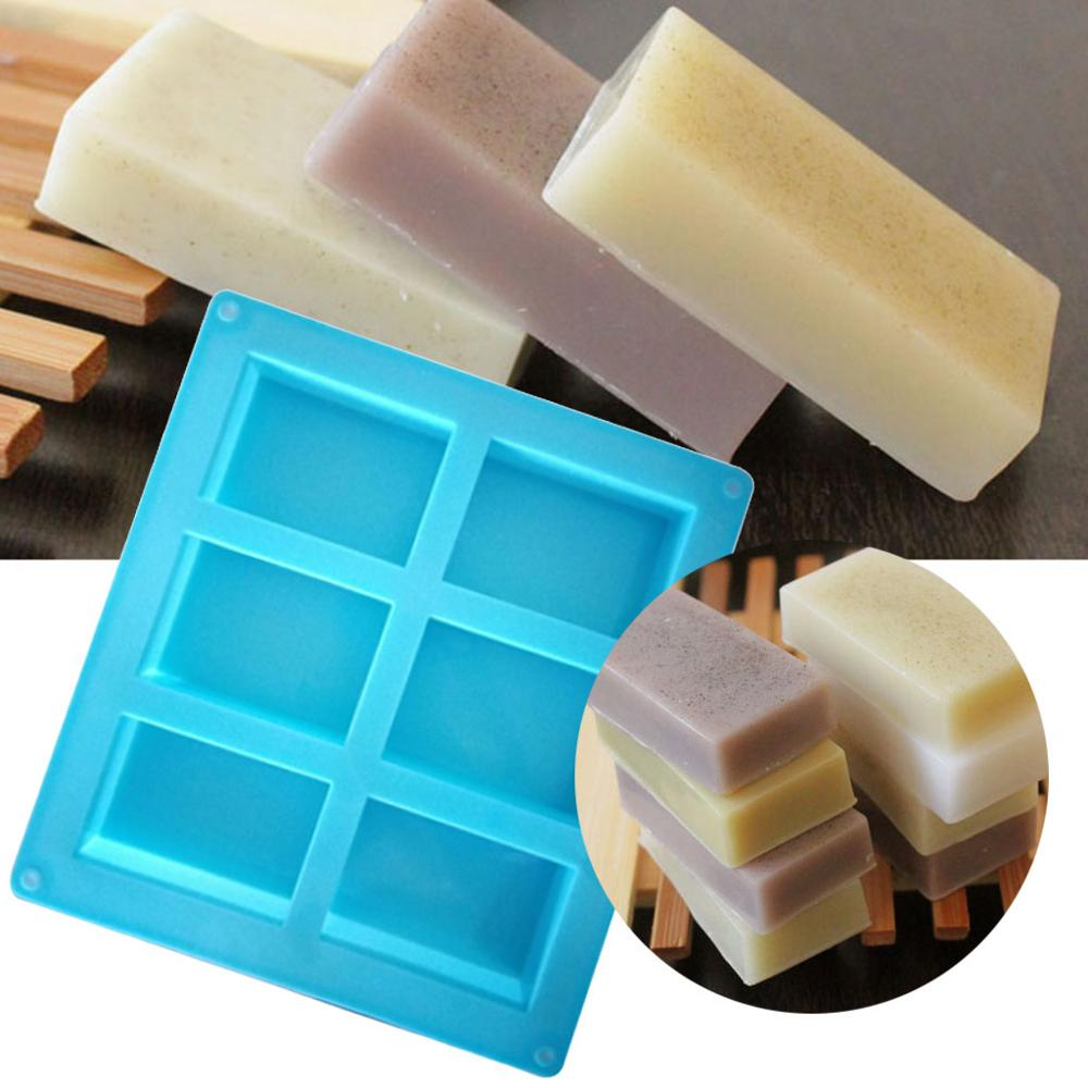 6 Cavity Plain Basic Rectangle Silicone Soap Mould Bake Mold Tray For Homemade DIY Craft Soap Mold Decor Tools Moule Savon