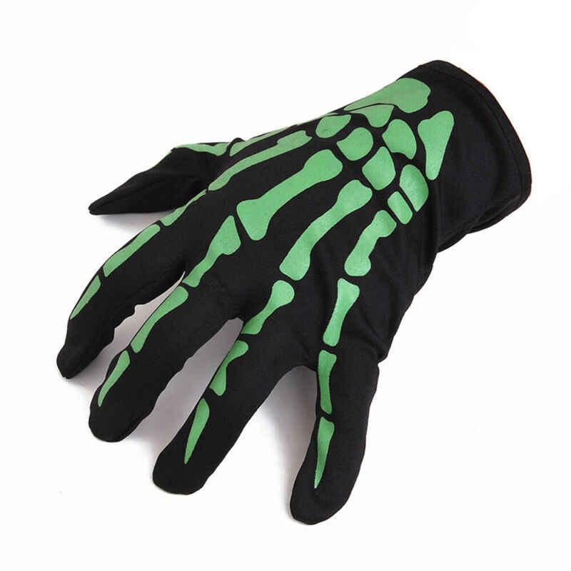 Mannen Vrouwen Glovers Ghost Gothic Halloween Party Cosplay Volledige Vinger Handschoenen Witte Schedel Patroon Zwarte Schedel Skelet Bone Handschoenen