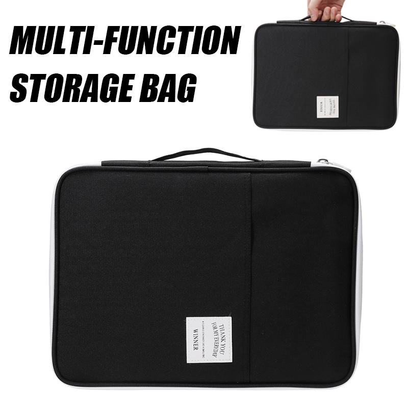 Multifunction A4 Document HandBag Conference Files Folder Zipped Organiser Case Portfolio School Office Business Filing Product