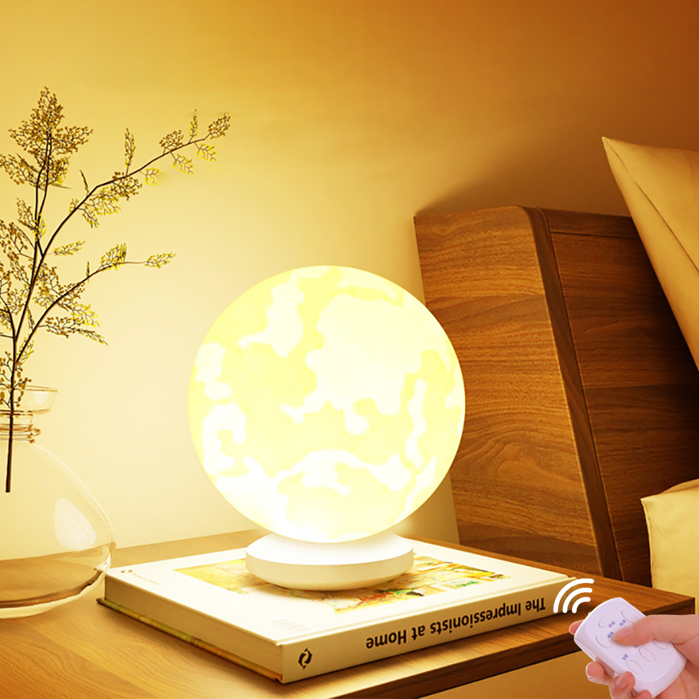 3D Moon Ball Table LED Lamp Night Light Color Dimmable Desk Lamp Decor 13cm/16cm Yellow/White
