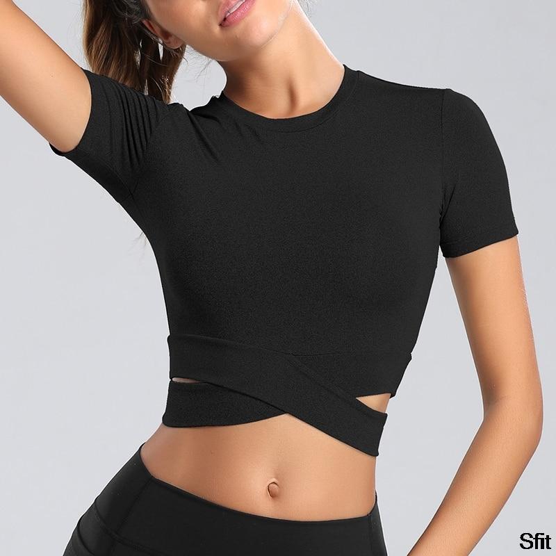 SFIT New Sexy Cross Women Yoga Shirts Fitness Crop Top Solid Running Shirt Sport Gym Clothes Tank Tops Fashion Sportswear