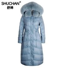 Shuchan Women's Long Winter Coat Hooded Womens Down Coats with Real Fox Fur Collar 2019 Women Jackets Warm Woman Down Parka цена в Москве и Питере