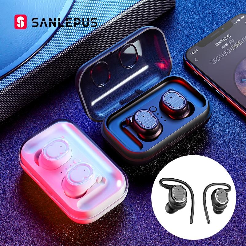SANLEPUS TWS 5.0 Fones de Ouvido Estéreo Baixo fone de Ouvido Fones De Ouvido Fones de Ouvido Bluetooth Esportes Sem Fio Mini Com Microfone Duplo Para Telefones