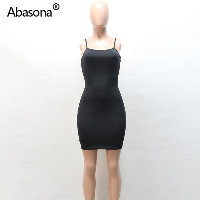 Abasona Sexy Black Bodycon Mini Dress Spaghetti Strap Stretch Summer Women 2020 Night Tight Dresses Party Ladies Casual Vestidos 8