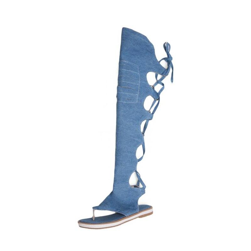 Сандалии женские до колена, плоская подошва, повседневные римские сандалии, гладиаторы, модные пляжные босоножки, лето