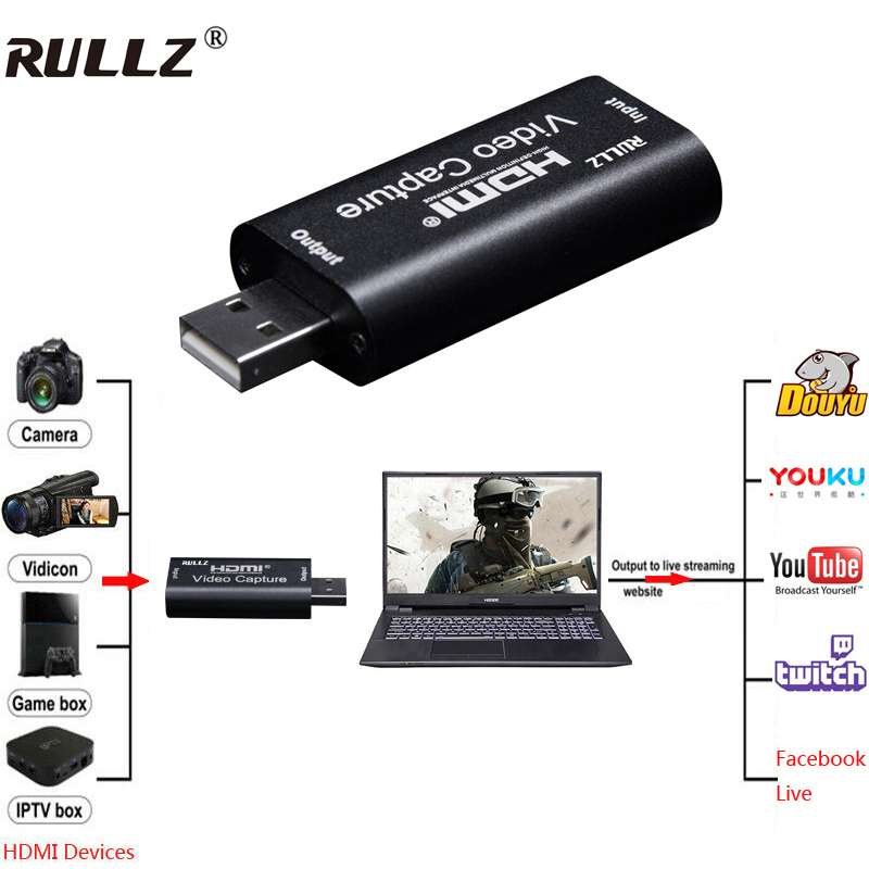 Rullz Mini Video Capture Card USB 2.0 HDMI Video Capture Grabber Phone Game HD Camera Capture Recording Box + PC Live Streaming