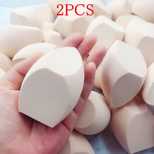 2 pçs maquiagem esponja corretivo suave cosméticos pó puffs forma corte fundação chanfro compõem liquidificador molhado e seco ferramenta de uso duplo