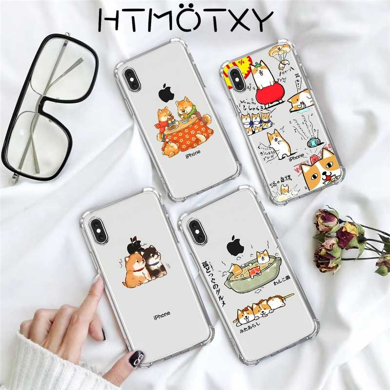 Htmotxy Voor Iphone 11 Pro Case Leuke Cartoon Dieren Clear Silicone Voor Iphone X Xs Max 6 6S 7 8 plus Xr Case Transparant Airbag