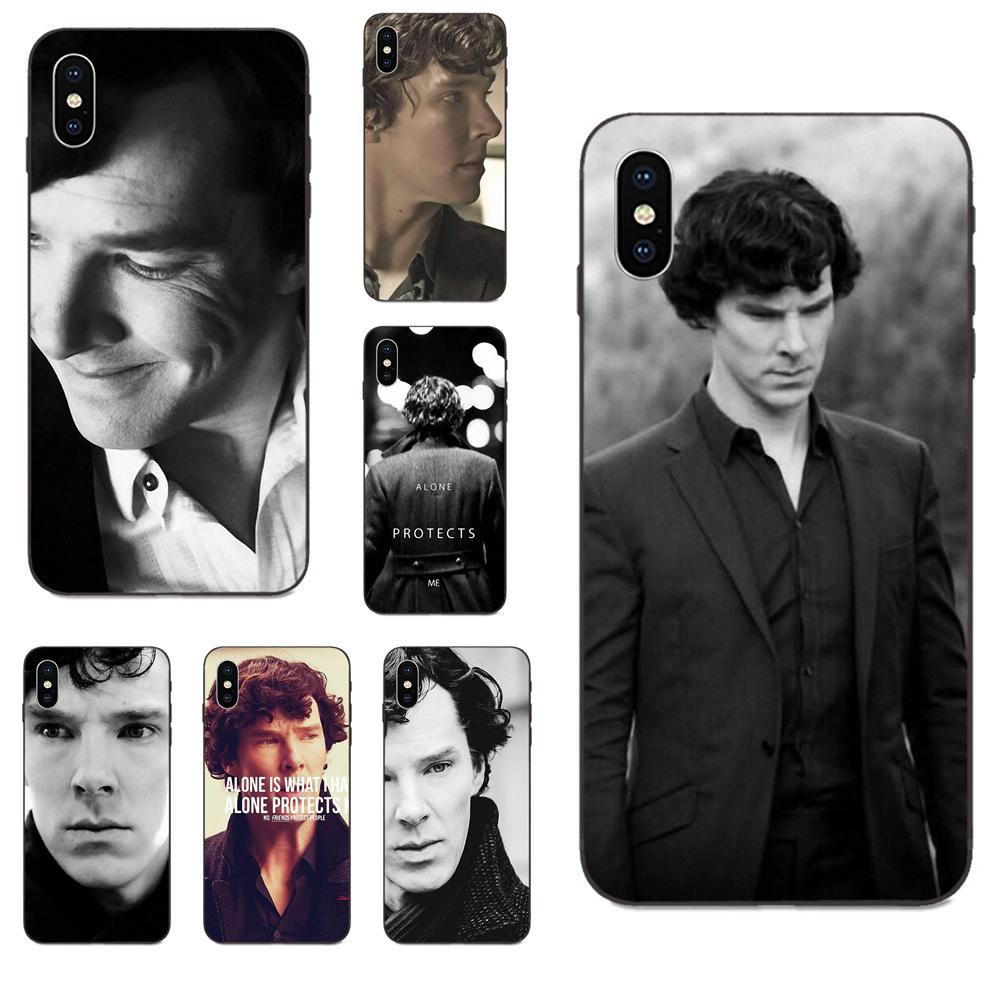 For Apple iPhone X XS Max XR 4 4S 5 5S SE 6 6S 7 8 Plus Soft Cell Phone Shell Alone Is What I Have I Am Sherlock Quote image