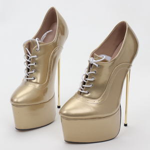 Image 5 - Jialuoweiブランド新しい女性は22センチメートル高ヒールポインテッドトゥプラットフォーム女性のセクシーなフェチシンプルな純金金属ヒールシングルスの靴