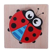 Baby Education Learning Wooden Toys Early Education Cartoon Animal Puzzle Children Toy Ladybug Jigsaw Puzzle все цены