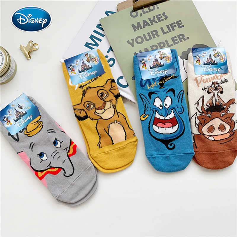 Disney 1 Paar Lion King Simba/Everzwijn/Aladdin Lamp God/Dumbo Sokken Harajuku Cartoon Print Grappige sok Lente Korte Sok
