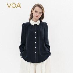 VOA Tibetan qing 30 mmi heavy silk multi-layer doll collar white bump stitched arch pin loose-fitting shirt B9123