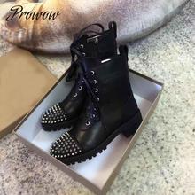 Prowow/Новые Качественные ботильоны из натуральной кожи с металлическими шипами удобные женские ботинки на низком каблуке со шнуровкой и круглым носком