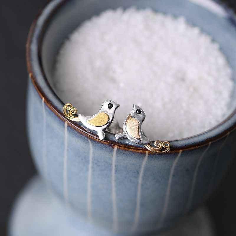BALMORA 925 فضة خمر الذهبي زوجين الطيور وأقراط للنساء هدية أنيقة لطيف مجوهرات الأزياء arداعي