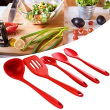 Silicone Kitchenware Suit Heat Resistant Restaurant Bar Bakery Ladlescoop Cooking Utensils Red Nonsticky Home Salad Heatproof