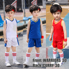 Basketball Jersey Kid Clothes Mesh Breathable Summer Kids Tracksuit Children Boys Girls Sets Clothing GSW Vest Outfits