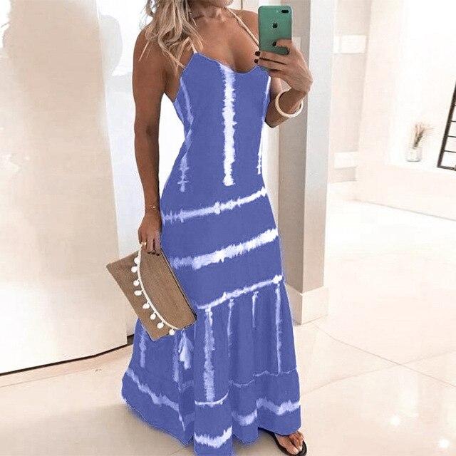 Fantastic print summer dress, full length 4
