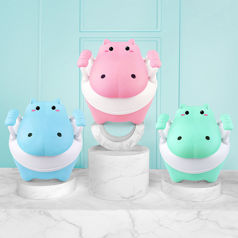 Baby Potty Toilet Kids Training Seat Chair Portable Cute Hippopotamus Design Travel Pot Children Toilet With Free Potty Brush
